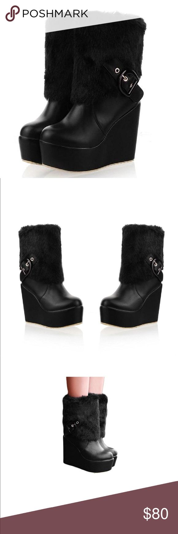 """Faux-fur Womens Platform Wedge Heel Snow Boots Brand new boots,never wear manmade sole Shaft measures approximately 5.9 from arch Platform measures approximately 1.50"""" Faux-Fur+PU Leather Manmade Material Heel Height:4.3"""" Boot Circuit:11"""" Lining material:velvet lining Shoes"""