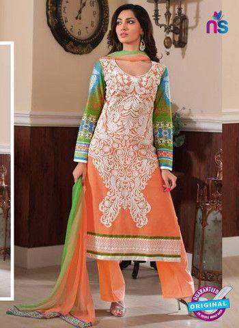 Rivaa14702B - Orange & Green Color Cotton Designer Suit
