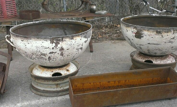 Fire Pits Or Garden Urns Made From Old Fuel Tanks Rust