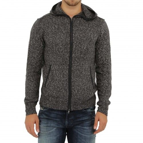 John Varvatos Zip Sweater Hoodie. This zip-front hoodie is elevated by the addition of a two-way zip, woven elbow patches and woven trim details at hip besom pockets, placket and hood. A great standout piece!