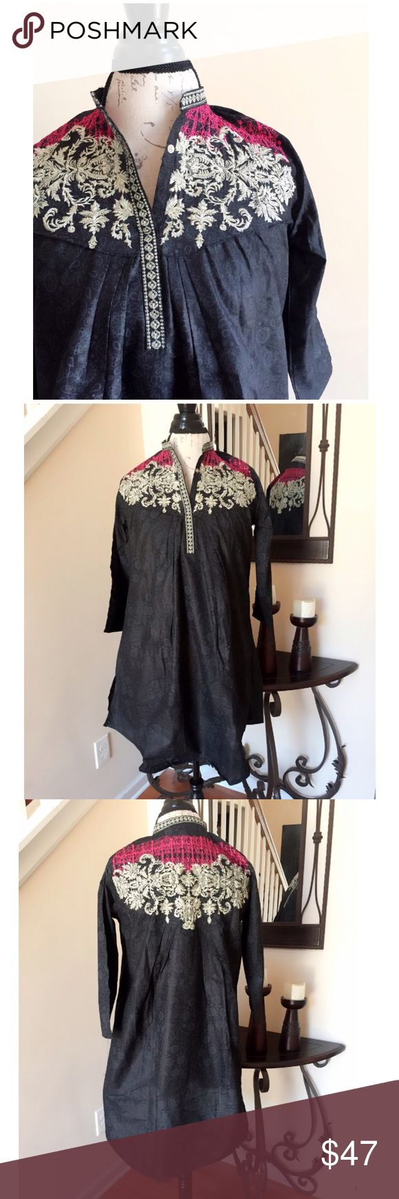 Black Beautiful Embroidered Blouse or Tunic Top Black Beautiful Gold and Pink Embroidered Summer Blouse or Tunic Top. Styles as loose fit and pleated under the chest and at the back. Fabric is light gold self print cotton. Tops Blouses
