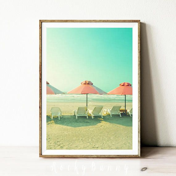 Printable beach poster vintage instant download prints