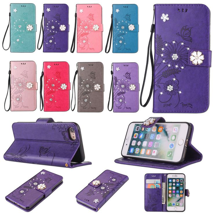 Flip 3D Bling Strass Embossed Patterned PU Leather Lot Card Slot Case Cover