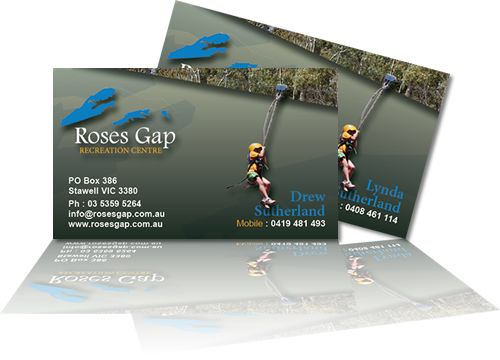 Roses Gap Recreation Centre Business Cards. Layout & design by Phunkemedia Web & Graphic Design www.phunkemedia.com