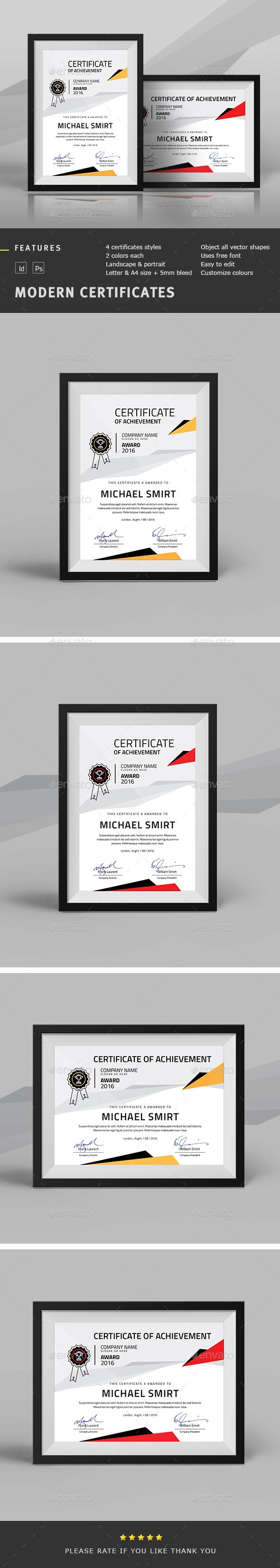 Modern Multipurpose Certificates Template PSD, InDesign INDD. Download here: http://graphicriver.net/item/modern-multipurpose-certificates/13533877?ref=ksioks
