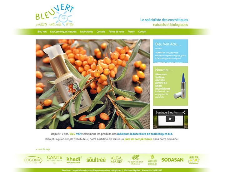 BLEU VERT Spécialiste de la cosmétique naturelle et bio design personnalisé + programmation PHP + mise en place blogs Création : 06/2010 + Relook : 02/2014 http://bleu-vert.fr