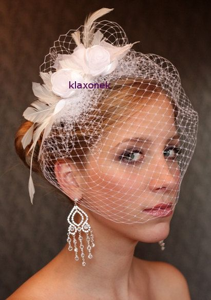 BIRDCAGE VEIL Ivory bridal veil. Wedding hair flowers. by klaxonek