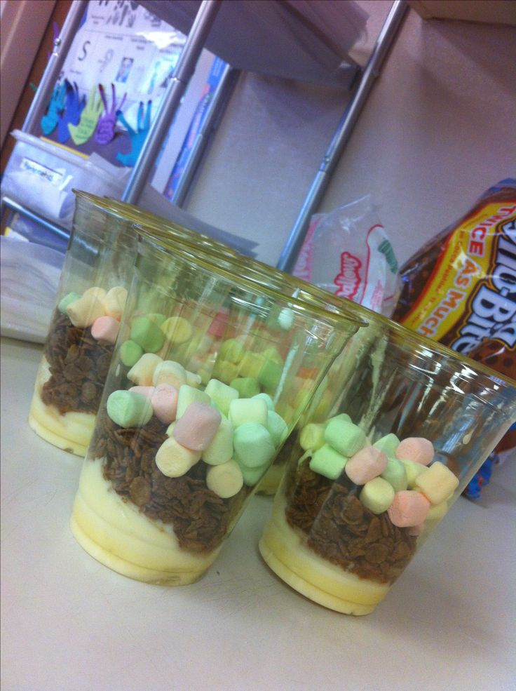 Sedimentary parfaits for a little fourth grade science fun! I also added a fourth layer of sliced bananas. The kids loved them.