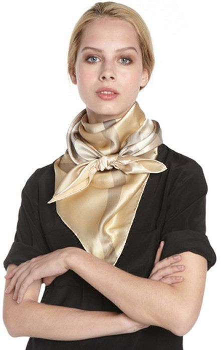 Burberry gold silk checker pattern scarf on shopstyle.com
