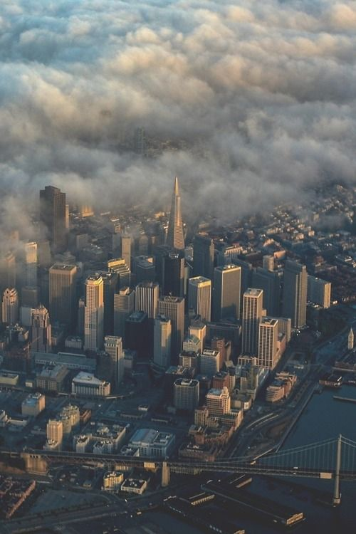 Flying into SF is always a treat! San Francisco, CA skyline aerial with fog.                                                                                                                                                      More