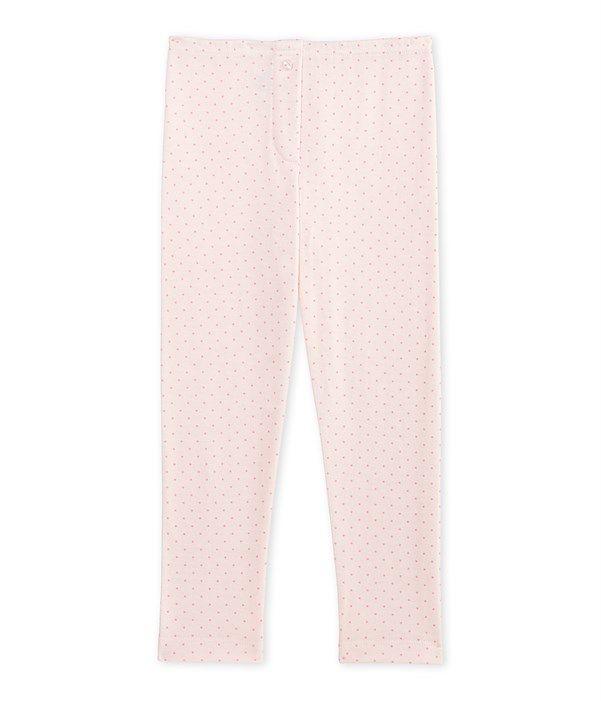 Legging fille en laine et coton Petit Bateau rose