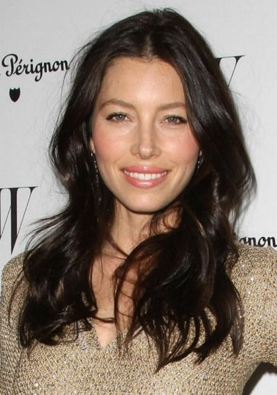 A rich, solid Dark Brown hair color on Jessica Biel. Get your own perfect #hair #color blended for you at home here: www.eSalon.com