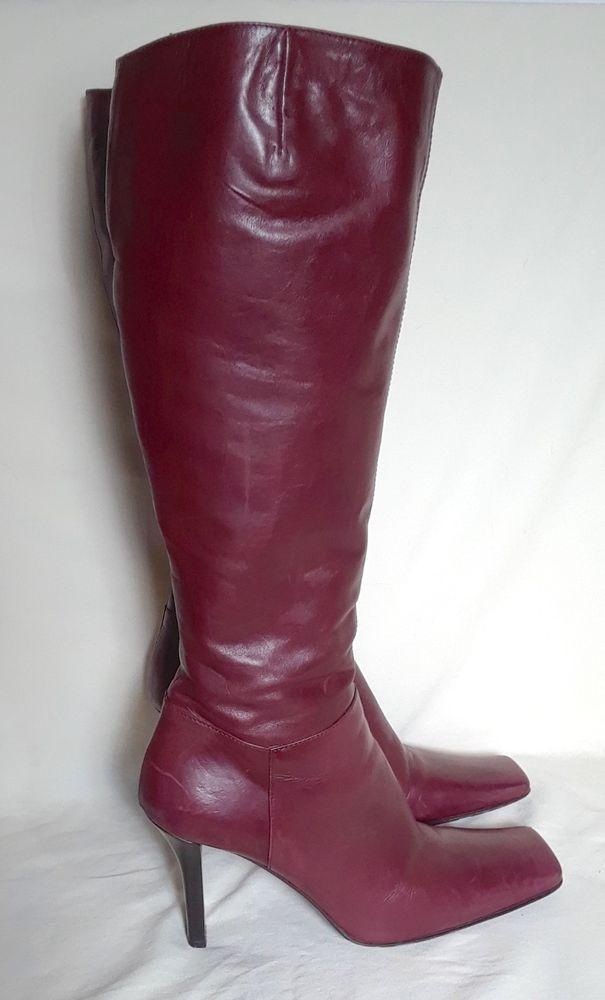 fc2894de81d ALDO Italy Tall Boots Leather Wine High Heel Butter Soft Women IT 39 US 8.5   Aldo  TallBoots