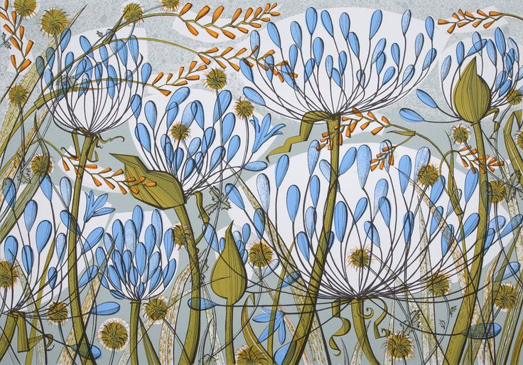 Angie Lewin, Born: 1963 Bollington, Cheshire, Agapanthus II, screen print, 735mm x 505mm, Edition size:125