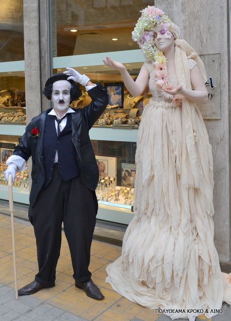 Spring living statues and Charlie Chaplin