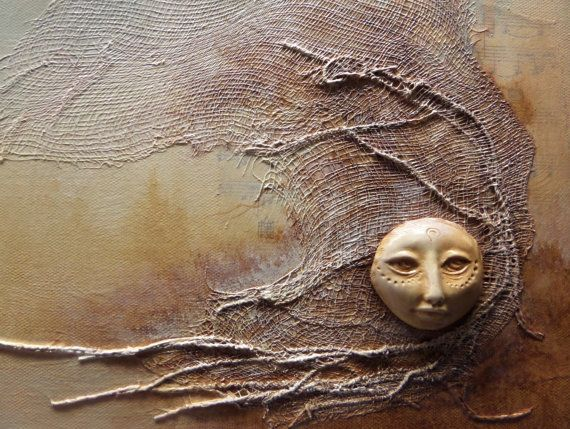 Golden Moon, Mix media and collage, assemblage painting, polymer clay on canvas, hand crafted, original art
