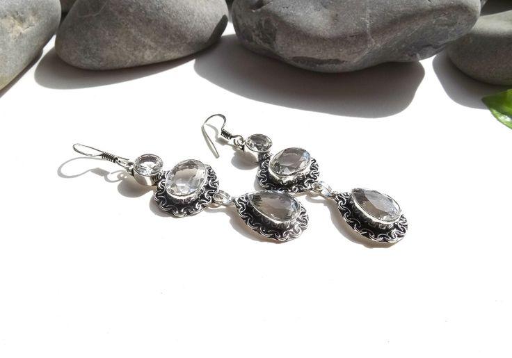 Boucles d'oreilles en topaze,chics,bijoux élégants,argent 925 : Boucles d'oreille par lapassiondisabelle
