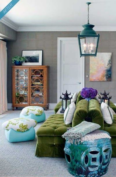 green sofa, gray walls, turquoise accents: gray wall and subdued carpet are perfect backdrops for the wonderfully colored furniture and accents, especially the green sofa which looks exceptionally rich in this setting