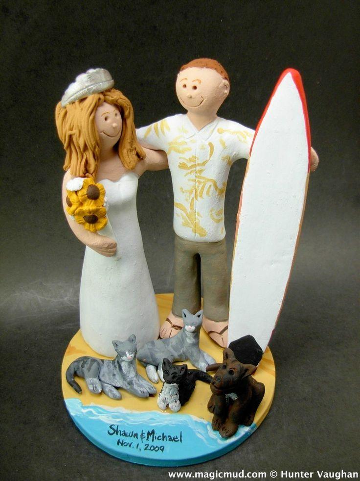 Bride with Sunflower Bouquet Wedding Cake Topper http://www.magicmud.com   1 800 231 9814  magicmud@magicmud.com  http://blog.magicmud.com  https://twitter.com/caketoppers         https://www.facebook.com/PersonalizedWeddingCakeToppers $235  #sunflowers#surfer#surfing#surf#ocean#wave#beach#longboard#catch-a-wave#waveRider