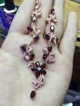 Natural Rojo granate Collar de piedra Natural de la Piedra Preciosa de La Mariposa Colgante, Collar de Las Señoras de la manera flores de la boda Joyería fina(China)
