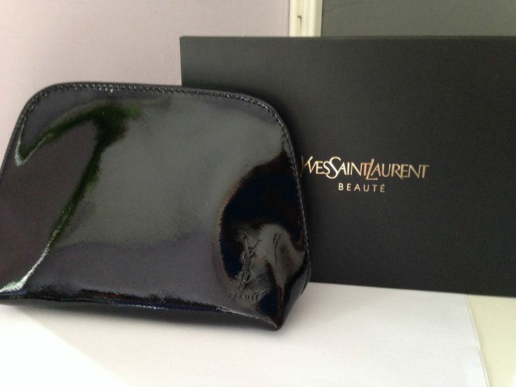 YSL Beaute Black Glossy Make Up Clutch Bag Pouch Yves Saint ...