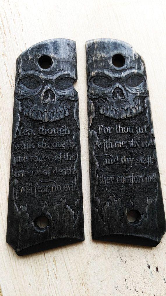 1911 Grips Skull Psalms 23:4 Black Curly Maple by CustomWarrior