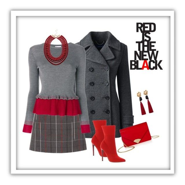 """Touches of Red to Work"" by mariale-lifestyle ❤ liked on Polyvore featuring Lands' End, Steve Madden, Miu Miu, MICHAEL Michael Kors, RED Valentino and MANGO"