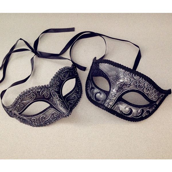 Metalic Black Silver Couple masquerade mask pair centerpiece Halloween... (25 NZD) ❤ liked on Polyvore featuring costumes, masquerade costume, party costumes, masquerade halloween costumes and party halloween costumes