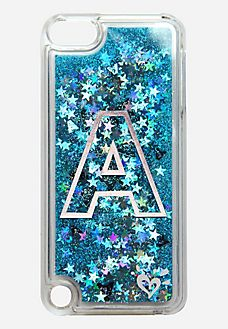 floating glitter initial case for ipod® touch
