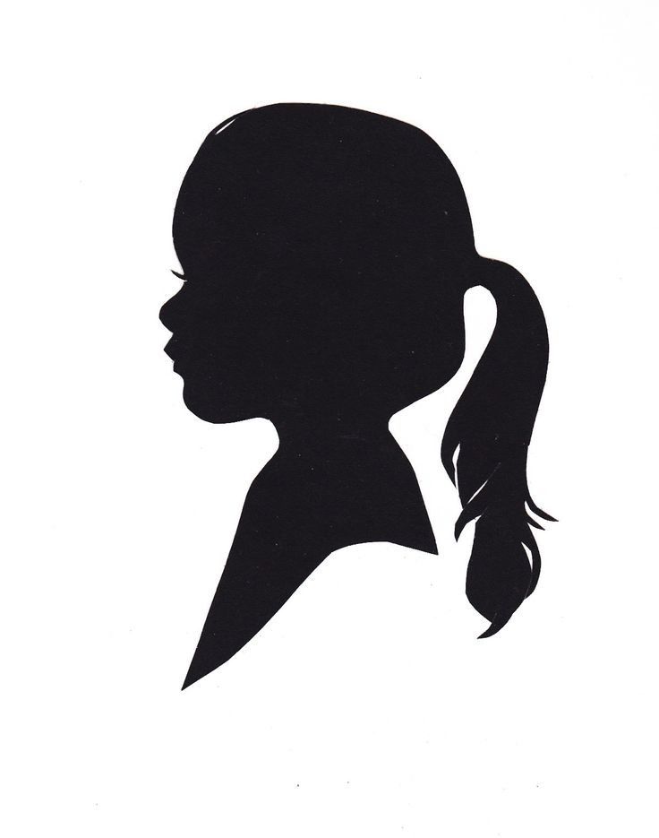 Silhouette Of A Little Girl With Ponytail Decorative