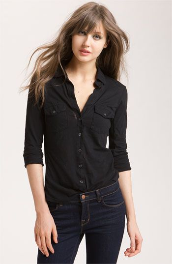 James Perse Button Front Jersey Shirt | Perfect button down.