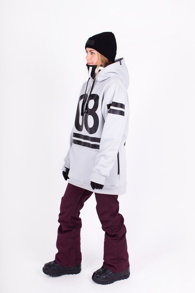 Womens 08 Tech Snowboarding Hoodie by Indyslopestyle. Dove Grey, 5K Waterproof, 3K Breathability, 100% Windproof. For all season riding. Worldwide shipping just $15 USD!