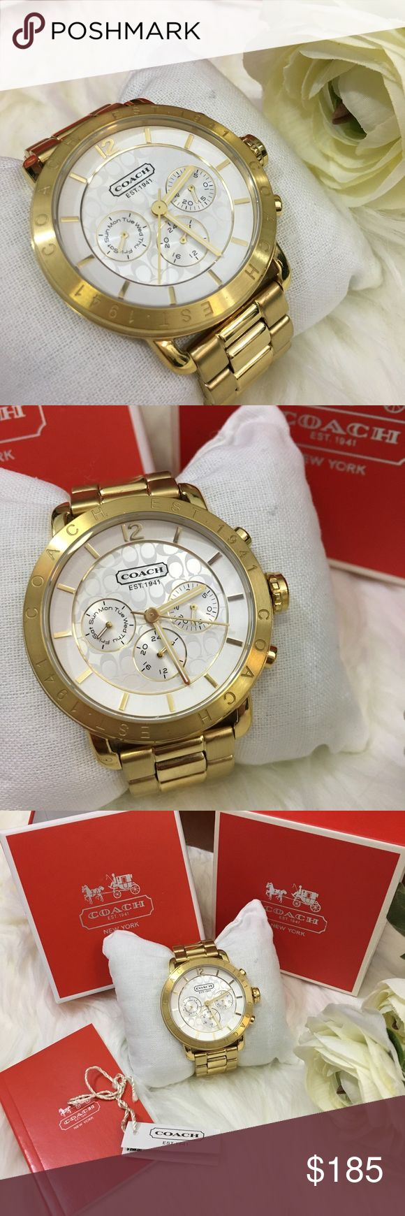 Coach Women's Gold Chronograph Boyfriend Watch MINT condition!!!  A stunning gift worthy piece. Worn 3 times &  literally the only signs of wear a…