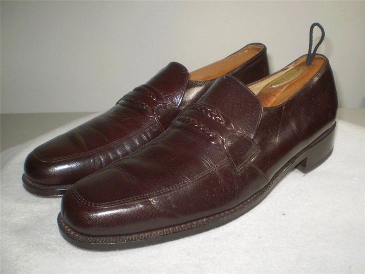 Vintage Florsheim Dress Brown Leather Slip On Loafer Shoe Mens Size 12 D 642920