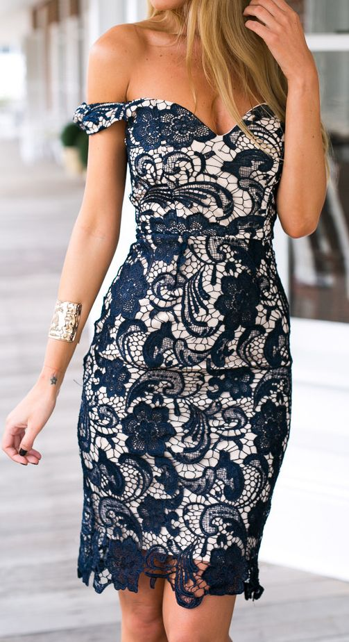 Crochet lace pencil dress