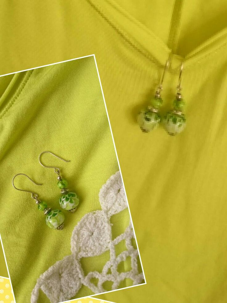 Set earrings limoen colors lotus flowering.  Can have leverback For sale 18€