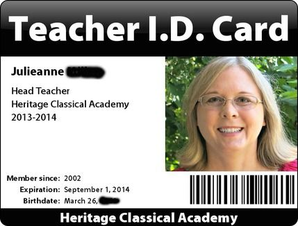 25 best ideas about card for teacher on pinterest for Homeschool id template
