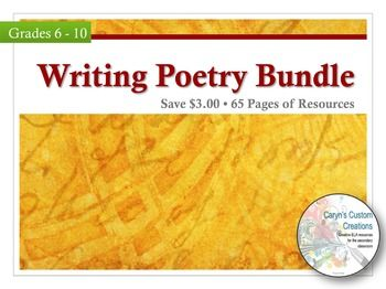 Writing Poetry is two weeks of lesson plans for getting your students writing creative and original poetry! Save $3.00 by purchasing this bundle!