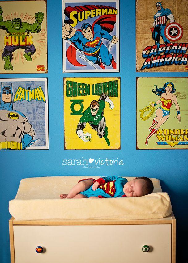 Superman superhero newborn lifestyle session  Friendswood, TX Sarah Victoria Photography