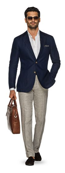 Suit Supply has the blue blazer on lock: (2 of 3), linen pants and no tie