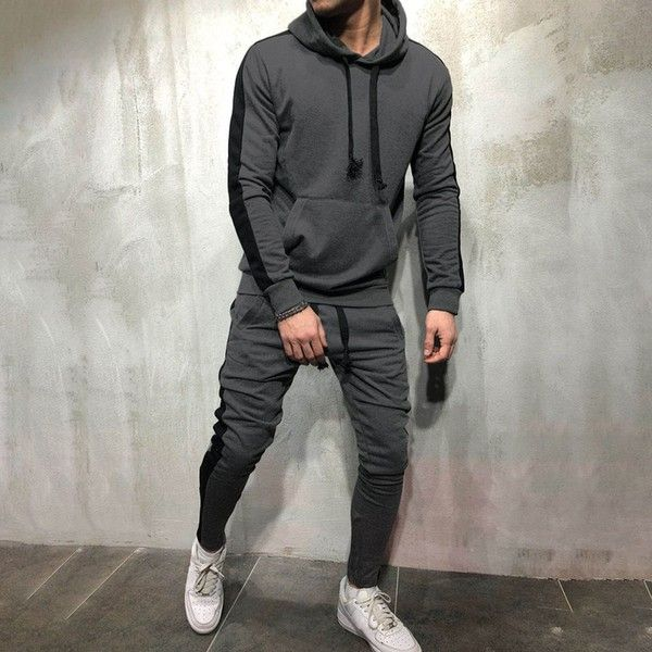 Men Plain Round Neck tracksuit Summer shirt joggers slim fit top bottom set