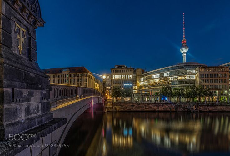 Across the bridge - Night shot at Museum Island Berlin