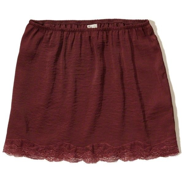 Hollister Lace Hem Slip Skirt ($30) ❤ liked on Polyvore featuring skirts, mini skirts, red, lace slip skirt, red slip, short red skirt, red lace skirts and short skirts