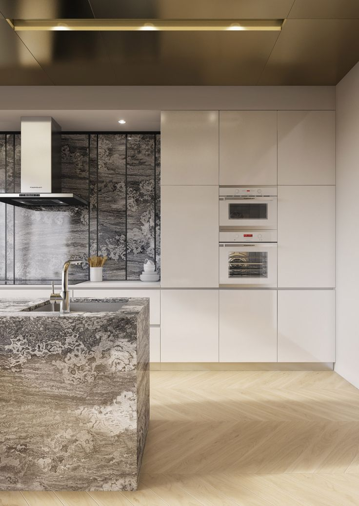 White Contemporary Kitchen With Sleek SieMatic Cabinets , Striking Granite,  And Metallic Textures In This Luxurious Moscow Apartment.