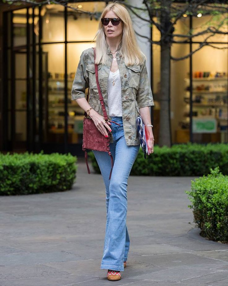 Embracing the casual allure of this season's camo trend. The Fay military jacket, as seen on Claudia Schiffer.