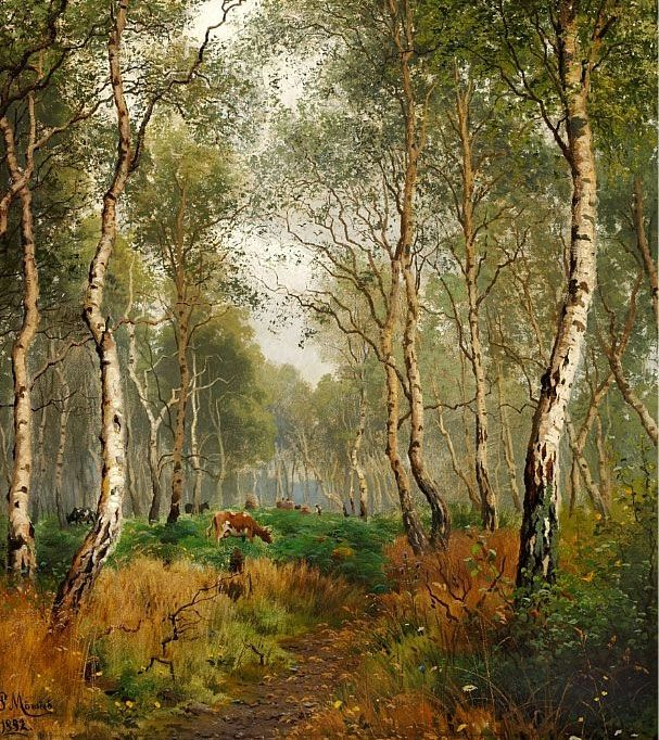 Peder Mork Monsted - Cows grazing in a forest,...