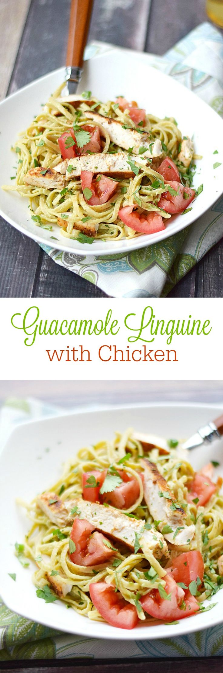 Delight your taste buds with this delicious Guacamole Linguine with Chicken, featuring whole-wheat linguine, seasoned chicken, and a creamy guacamole sauce   cookingwithcurls.com