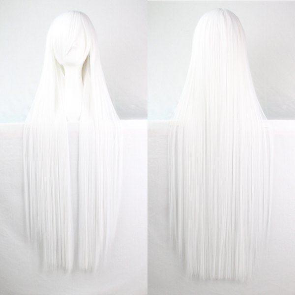 Charming Women's 100CM Long Glossy Straight Side Bang Harajuku Anime Synthetic Cosplay Wig