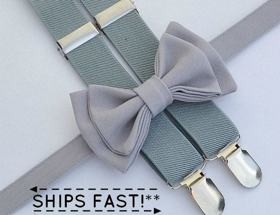 Silver Grey Bow Tie & Light Grey Suspenders by armoniia on Etsy