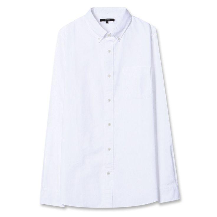Topten10 Unisex Men Women Oxford Buttondown White Solid Cotton Dress Shirts #Topten10